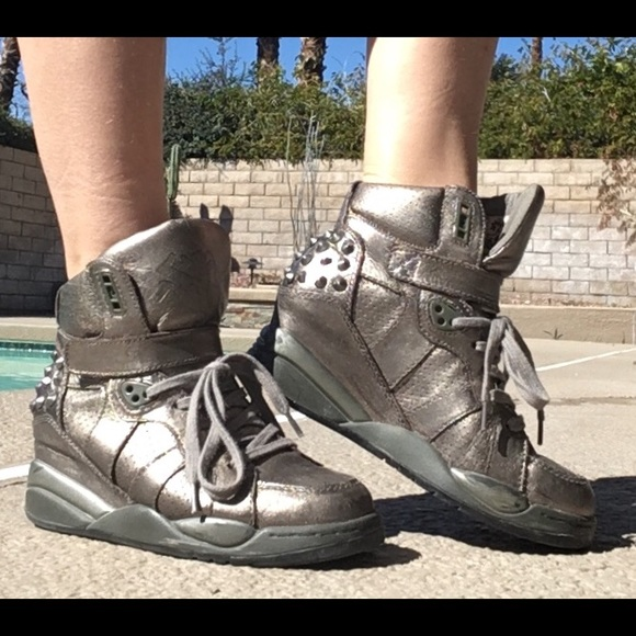 $70 ASH studded shoes gunmetal lifted 5 Women's